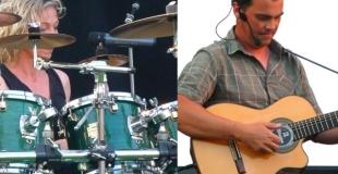 Coralie à la batterie et au chant et François à la guitare et au chant.